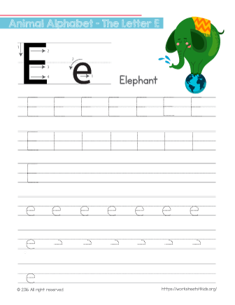 Tracing Letter E With Elephant