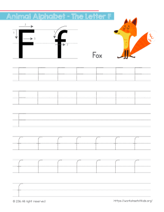 Tracing Letter F With Fox Free Worksheets For Kids