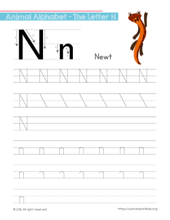 Tracing Letter N With Newt Free Worksheets For Kids