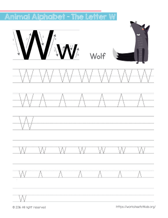 tracing letter w with wolf free worksheets for kids. Black Bedroom Furniture Sets. Home Design Ideas