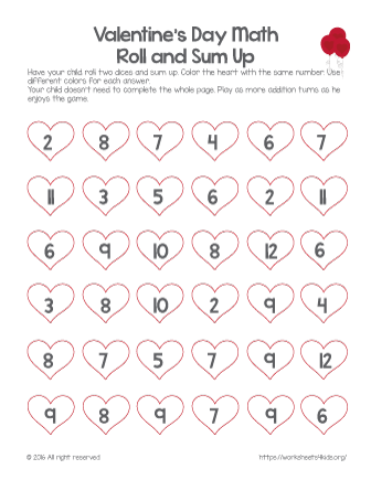 valentine day worksheets