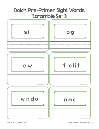 dolch sight words preschool