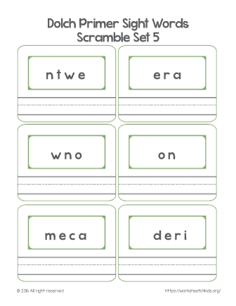 printable sight words for kindergarten
