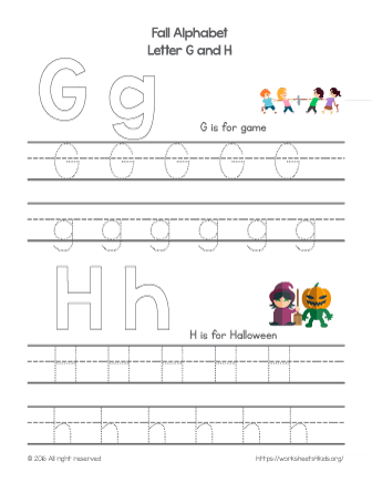 tracing letter g