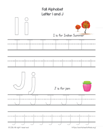 tracing letter i