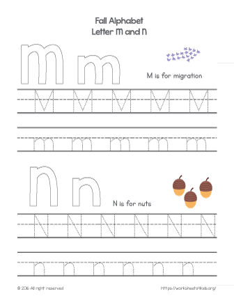 tracing letter m