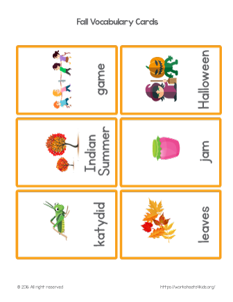 fall vocabulary flash cards