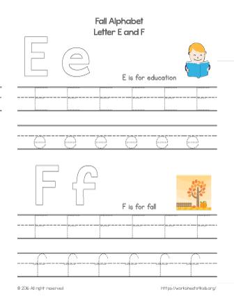 tracing letter e